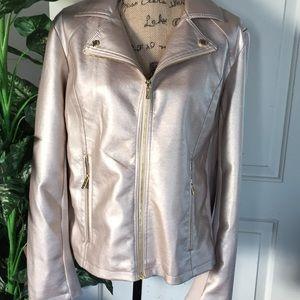 Calvin Klein Gold Faux Leather Moto Jacket XL